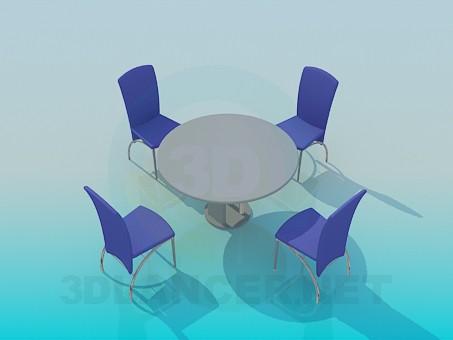 3d модель Столик со стульями в кафе – превью