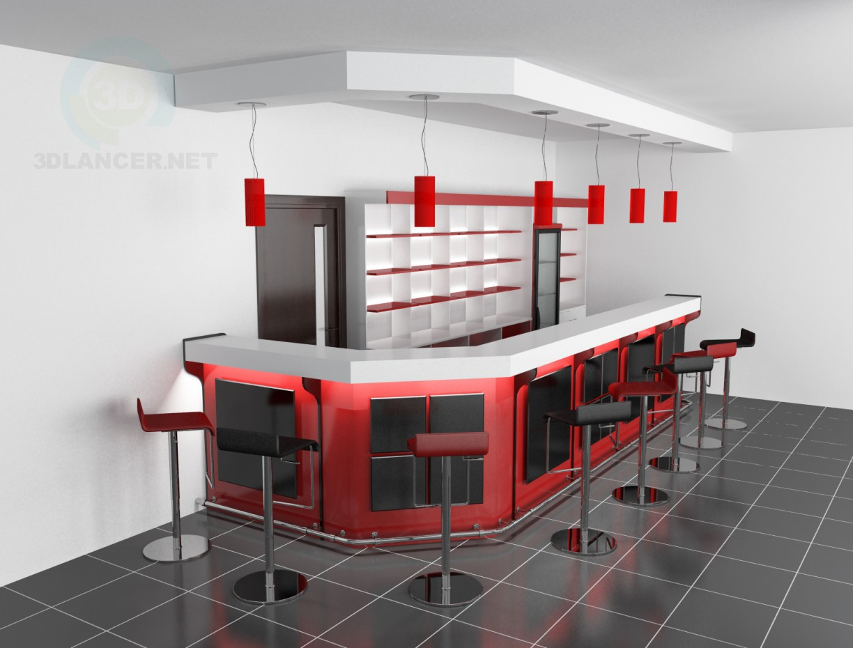 3d model bar counter and stools in the style of for Food bar 3d model