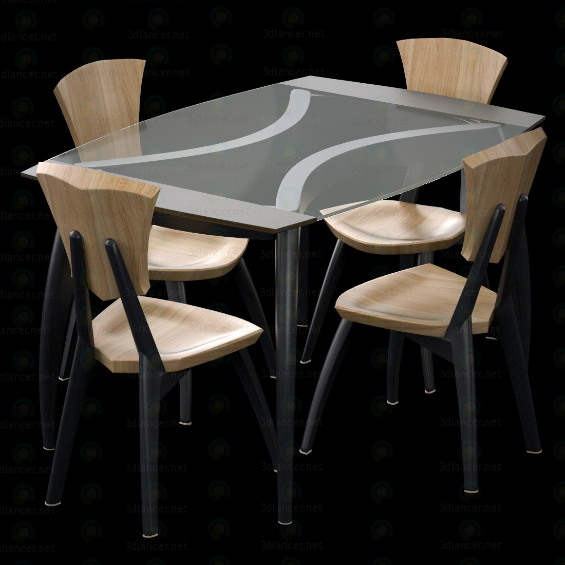 3d Lily Custom Glass Top Dining Table model buy - render