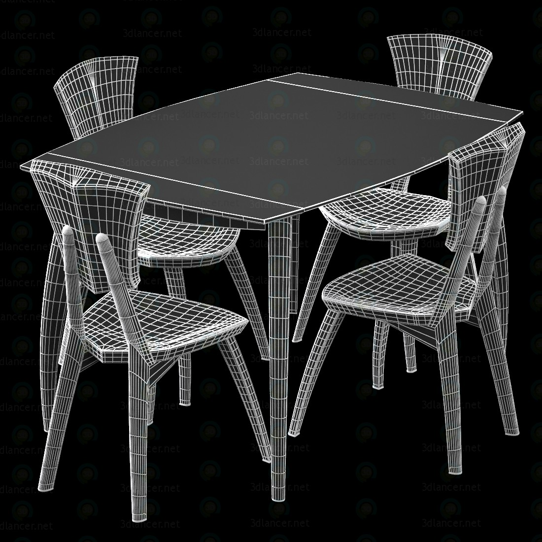 3d Lily Custom Glass Top Dining Table модель купить - ракурс