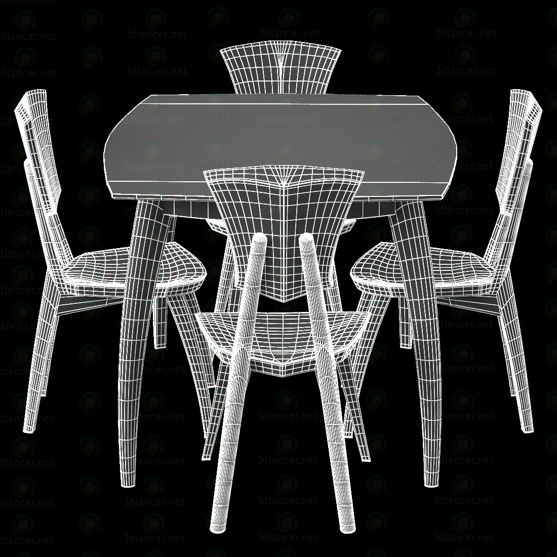 3d Lily Custom Glass Top Dining Table модель купити - зображення