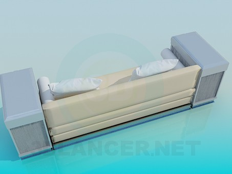 3d model Sofa with side tables - preview
