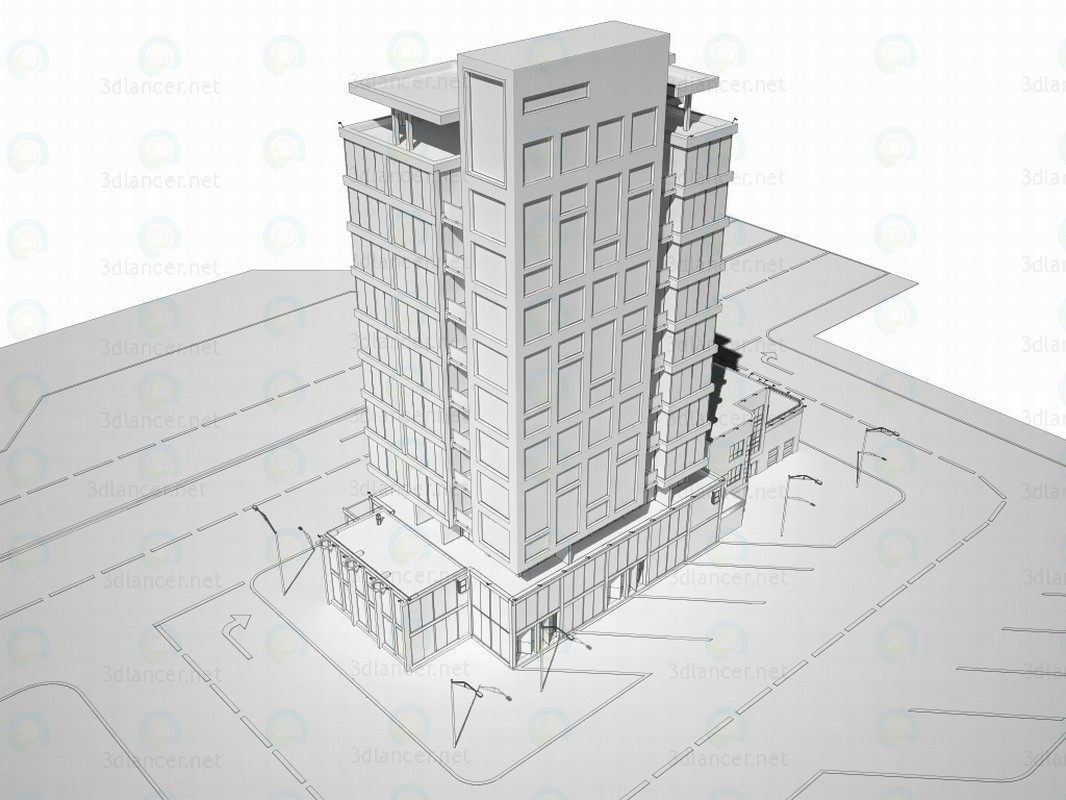 modelo 3D El edificio del centro de negocios - escuchar