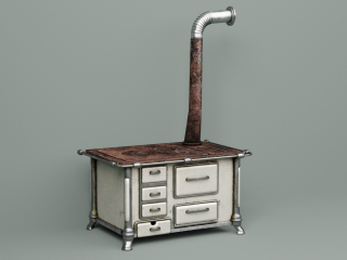 Old Soviet wood-fired stove (stove)