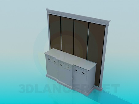3d model Console with wall panel - preview
