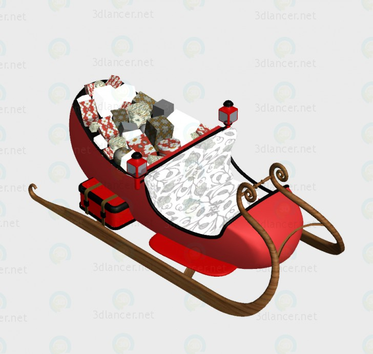 3d model Christmas sleigh - preview