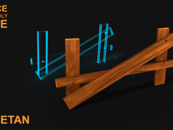 3D Broken Wooden Fence v1 Игровой актив - Low poly