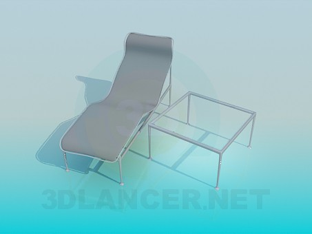 3d model Lounger and table included - preview
