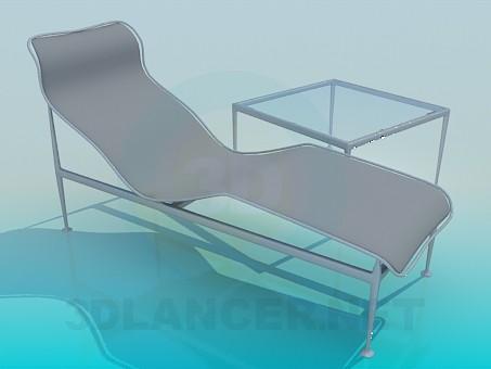 3d модель Лежак и столик в комплекте – превью