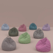 3d Set of nine armchairs bags of different colors model buy - render