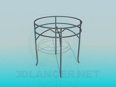 modelo 3D Mesa redonda con tapa de cristal - escuchar