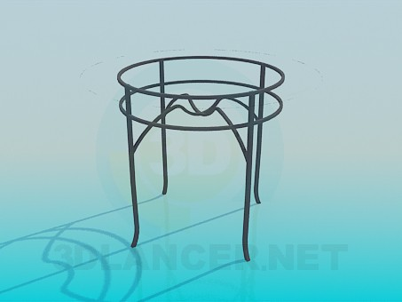 3d model Round table with glass top - preview