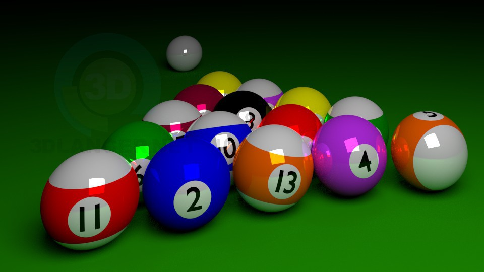 3d model Set of billiard balls - preview