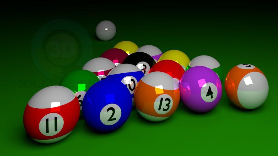 3d model Set of billiard balls - preview