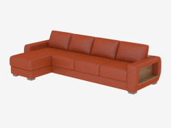 Leather sofa with shelf and bed