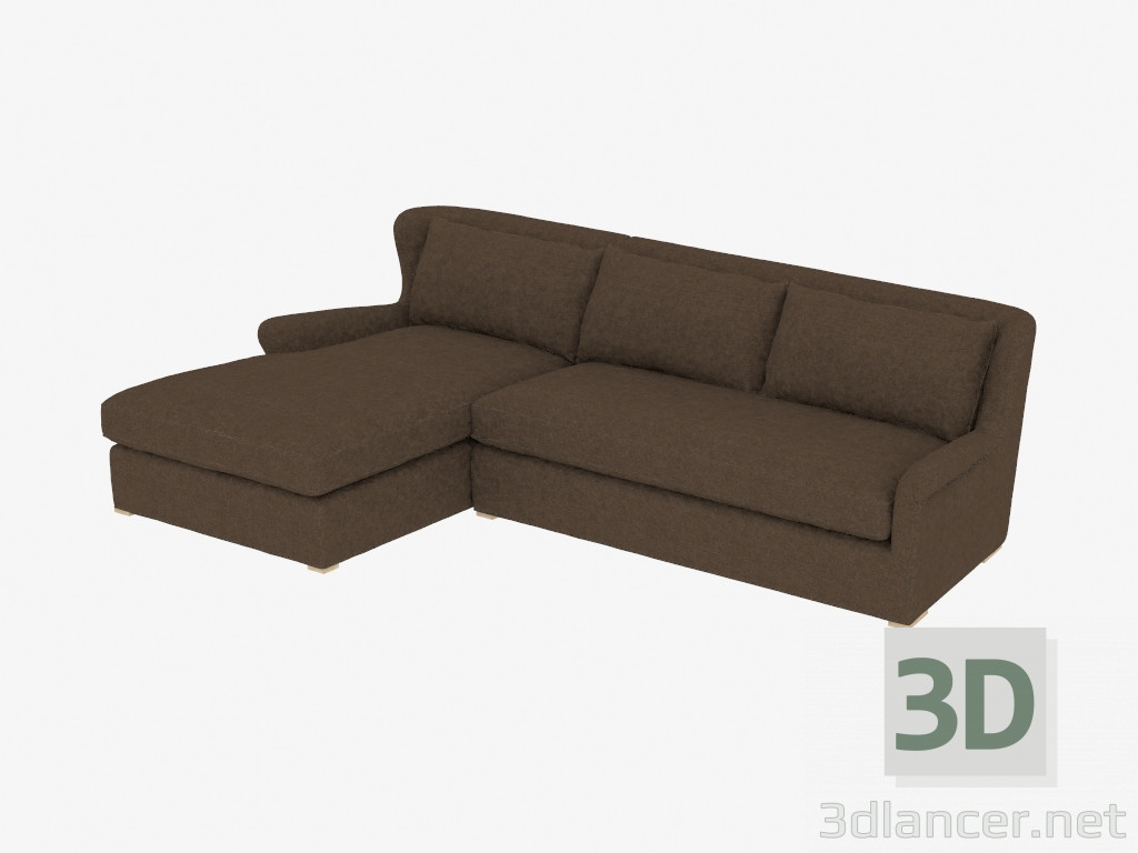 Prime 3D Model Corner Sofa Sectional Brown Linen 7843 3102 Laf Machost Co Dining Chair Design Ideas Machostcouk