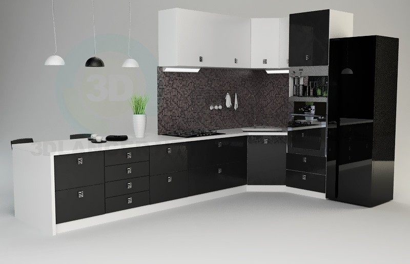 3d modeling Kitchen model free download