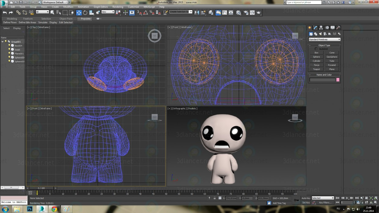 3d model Isaac from the Binding of Isaac game - preview