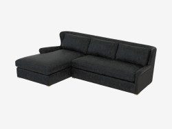Leather modular sofa LEATHER & WOOL SECTIONAL (7843-3104 LAF)