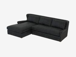 Canapé en cuir modulaire SECTION CUIR ET LAINE (7843-3104 LAF)