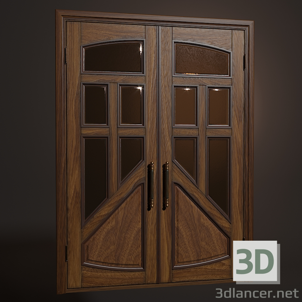 3d Wooden swing door model buy - render