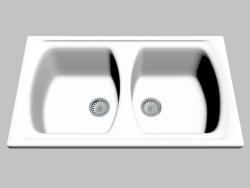 Lavello, 2 ciotole senza alette per asciugare Lusitano (ZCL 620N)