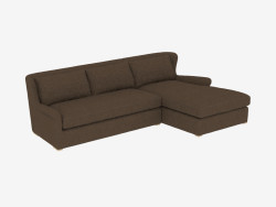 Ecksofa SECTIONAL BROWN LINEN (7843-3102) RAF
