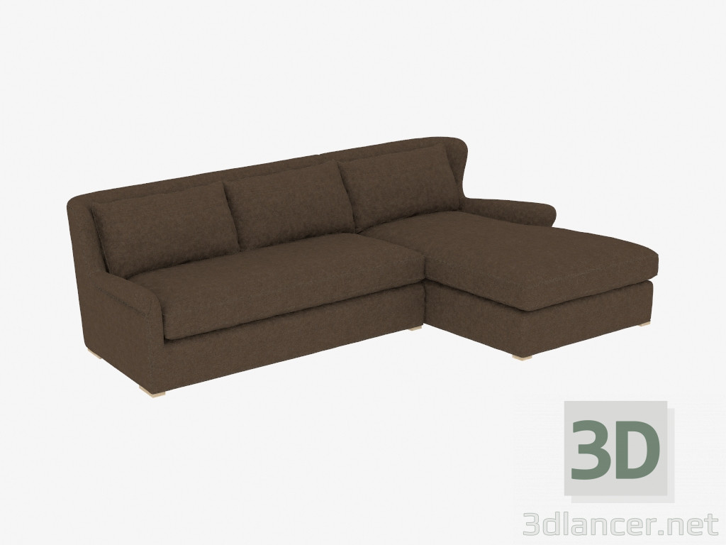 Peachy 3D Model Corner Sofa Sectional Brown Linen 7843 3102 Raf Machost Co Dining Chair Design Ideas Machostcouk