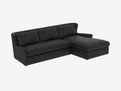 Leather modular sofa LEATHER & WOOL SECTIONAL (7843-3104) RAF