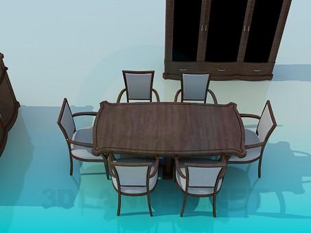 3d modeling Set of furniture for the dinning room model free download