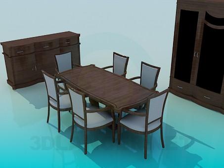 modelo 3D Conjunto de muebles para el comedor - escuchar