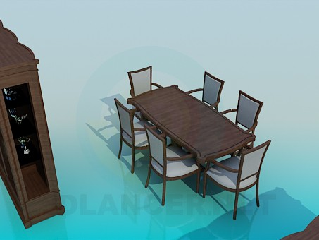 3d model Set of furniture for the dinning room - preview