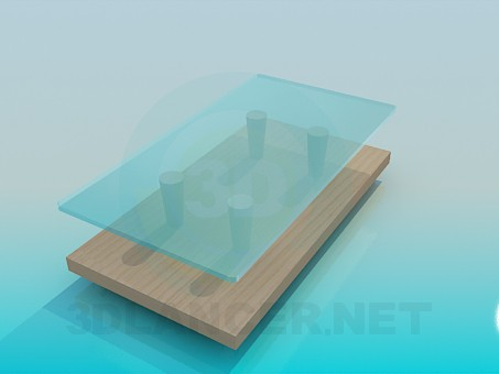 3d model Wood-glass low table - preview