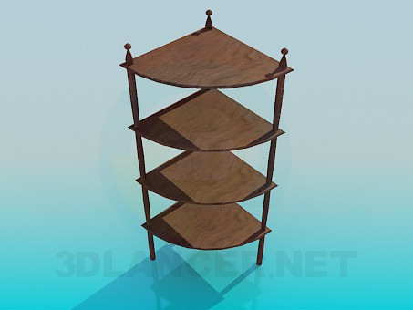 3d model Wooden corner shelves - preview