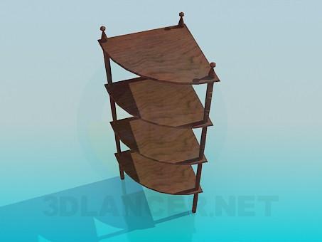 3d модель Деревянная угловая этажерка – превью