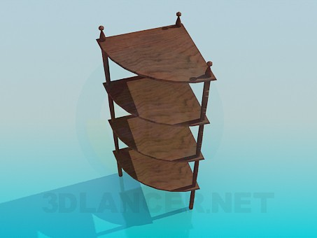 modelo 3D Estantes de madera esquina - escuchar