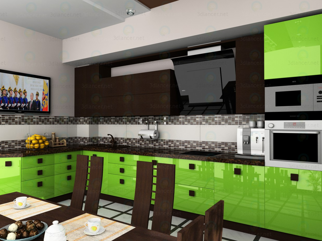 3d model mastarda kitchen in the style of high tech id 10835 for Kitchen modeler