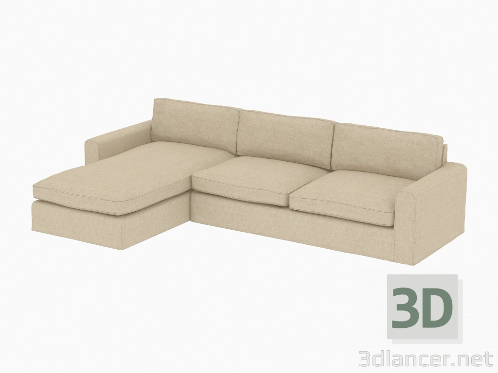 Awe Inspiring 3D Model Modular Corner Sofa Upholstered Sectional Curations Machost Co Dining Chair Design Ideas Machostcouk