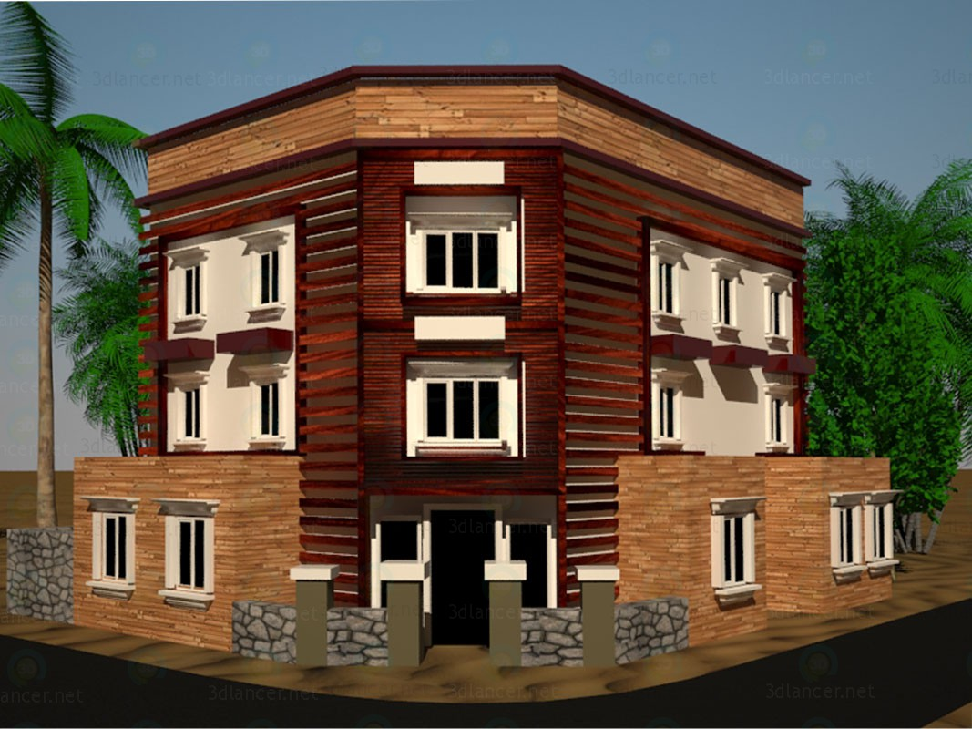 3d model exterior building design download to for Exterior 3d model