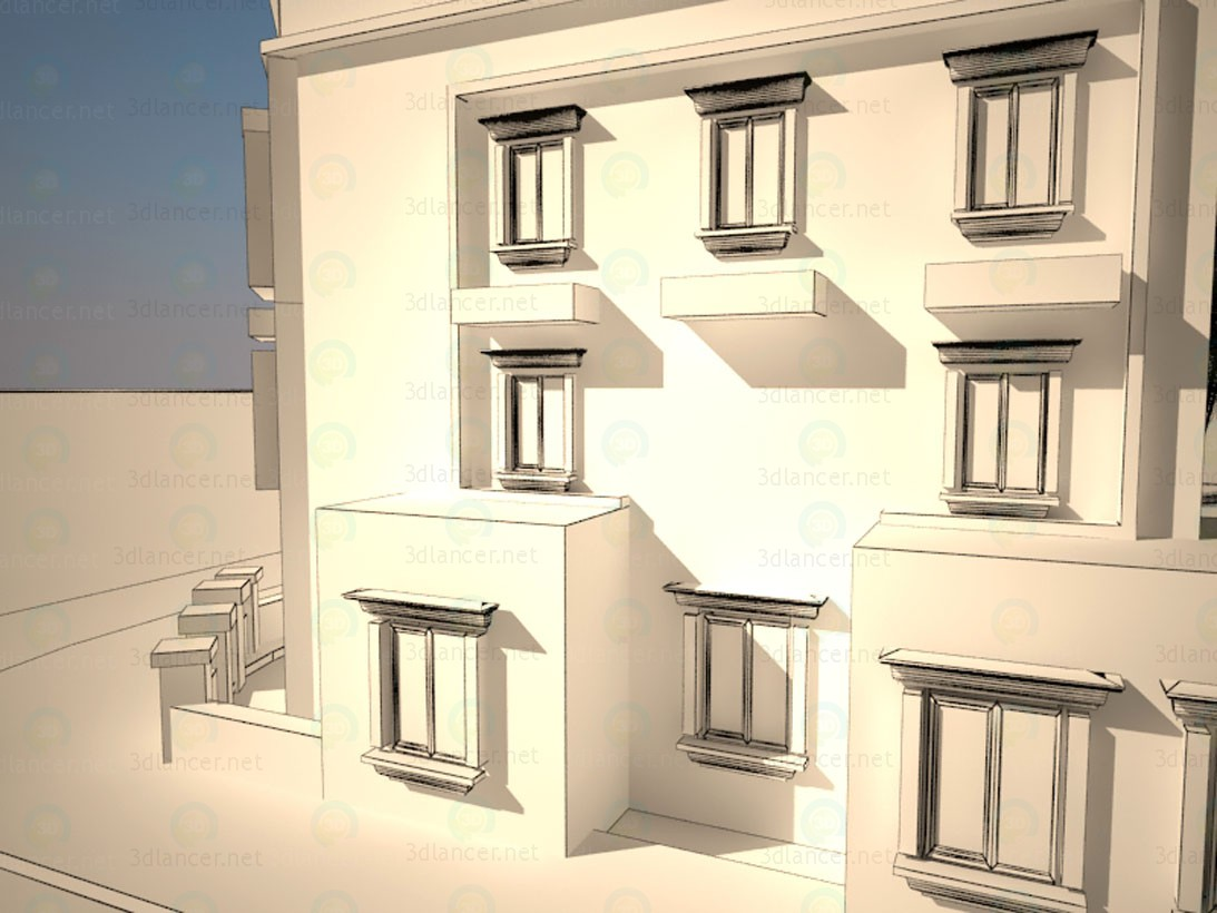 Diseño exterior edificio 3D modelo Compro - render