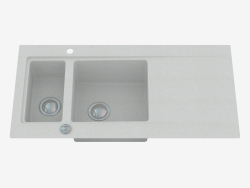 Washing, 1,5 bowls with a wing for drying - gray metalic Modern (ZQM S513)