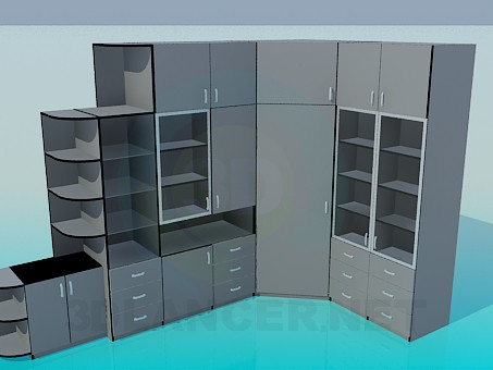 3d model Corner cabinet in office - preview