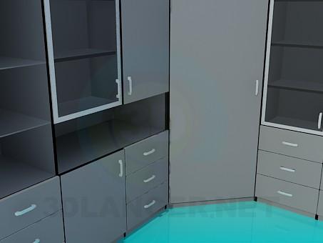modelo 3D Mueble de esquina en oficina - escuchar