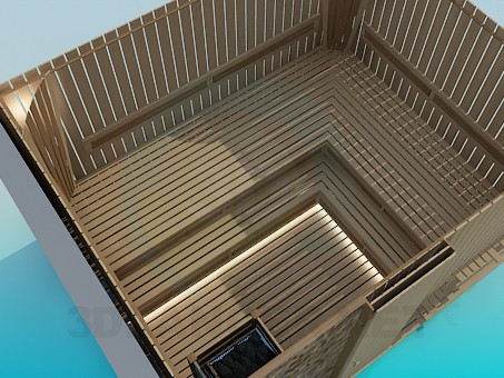 3d model Wooden sauna - preview