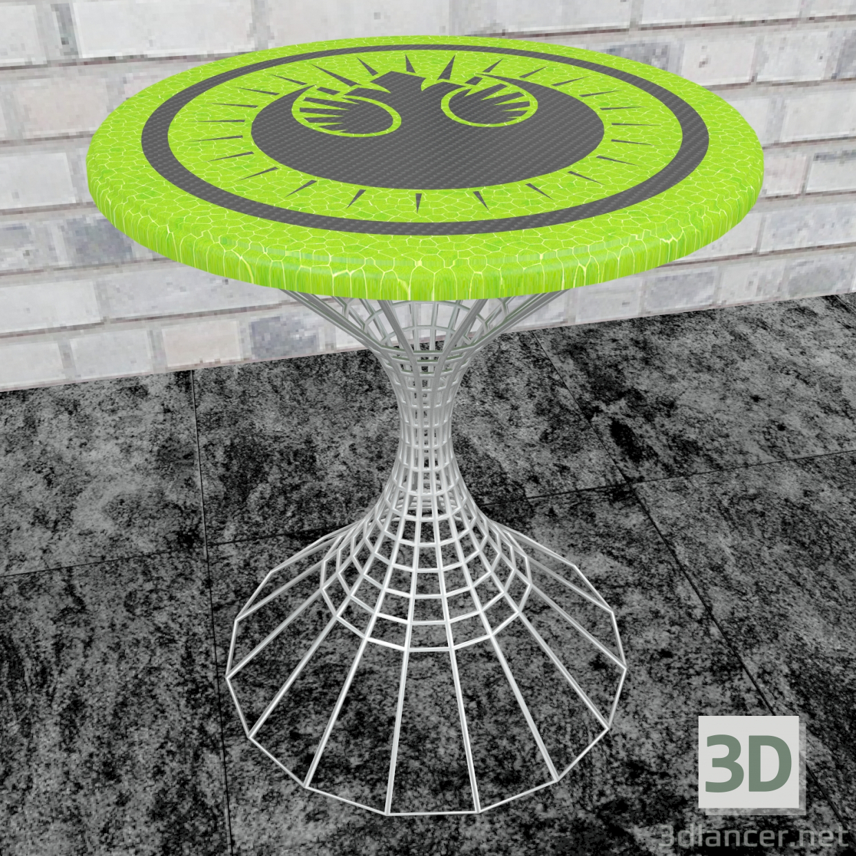3d A side table with the emblem of the New Jedi Order. model buy - render