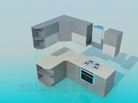 3d model Cocina de esquina - vista previa