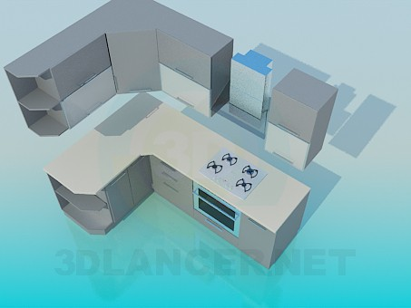 3d модель Кутова кухня – превью