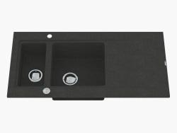 Fregadero, 1,5 cuencos con un ala para secar - Graphite Metallic Modern (ZQM G513)
