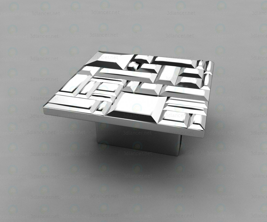 3d model Pen button square modern 467032MP02, glossy chrome 32 mm - preview