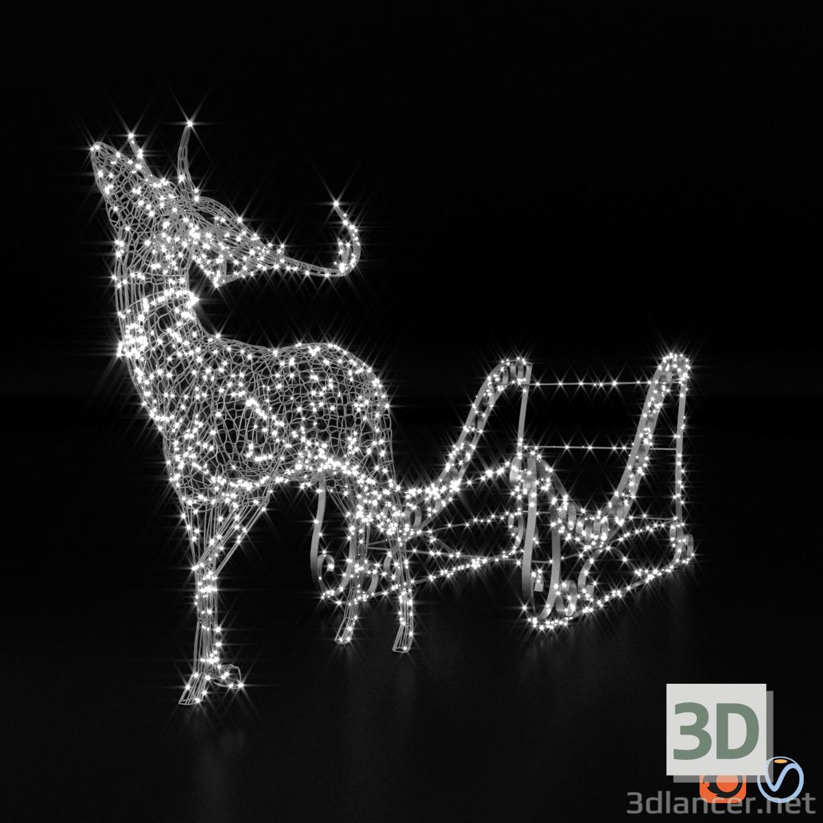 """3d Light volumetric figure """"Deer and sleigh."""" model buy - render"""